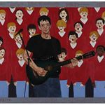 Lou Reed and Children 180×136cm 2014 Woodcut & Mixed Materials