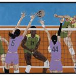 The women's volleyball grand prix 235×145cm 2014 Woodcut & Mixed Materials