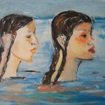 Two girls in the water 60x80cm 2003