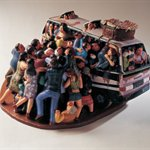 lizhanyang-Getting on the bus colored fiberglass 46x25x35cm 2002