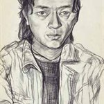 Xin Haizhou   Self-portrait  sketch   44x31cm  1991