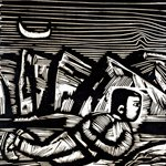 Song Yongping-moonrise at huang river-1982-35.2x40.4cm-woodcuts