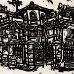 Song Yongping--Tianjin impression_old building-1983-39.6x54.3cm-woodcuts