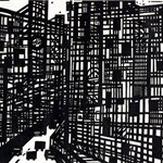 Song Yongping--Tianjin impression_the street scence-1983-39.5x54.3cm-woodcuts
