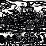 Song Yongping-visiting Beihai-1983-32.4x39.2cm-woodcuts