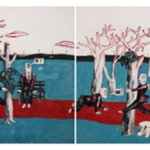 Wang Jinsong Long March Rock 'n' Roll Acrylic Color And Gouache on Xuan Paper  45×120cm 1990