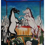 Wang Jinsong Horse Fights Acrylic Color And Gouache on Xuan Paper 120×90cm 1990