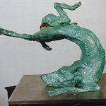 Zhou Chunya Green Dog Sculpture 32x45x41 2007