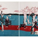 Wang Jinsong Long March Rock n Roll Acrylic Color And Gouache on Xuan Paper 45×120cm 1990