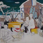 Wang Jinsong 无聊的会议 Boring Meeting 90×120cm 重彩 Acrylic Color And Guoache on Xuan Paper 1988