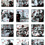 旁观者 Bystander  黑白摄影钟表装置12幅 Black and White photographs Clock Installation 12pcs 25x25cm 1995