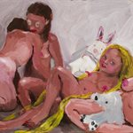 Girls with White Puppets oil on wood, 20x25cm, 2020